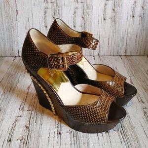 MICHAEL KORS |ELLA Snake Print Leather Wedge Shoes